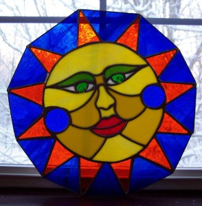 sunshine face in stained glass